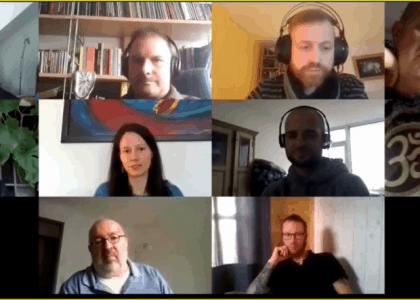 Uffbasse in einer Online-Sitzung